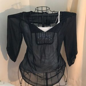 NWT black sequins top